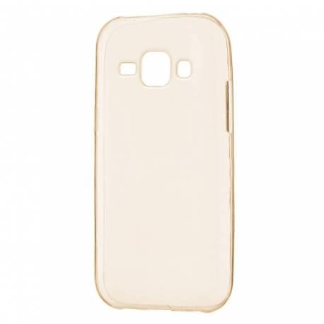 Samsung Galaxy J1 silikonové tenké pouzdro - průhledné zlaté J100
