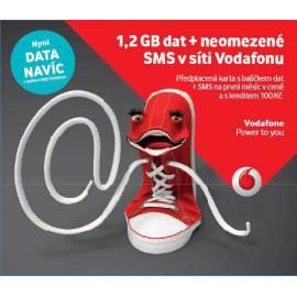 Předplacená karta Vodafone (neomezené SMS v síti + 1,2GB)