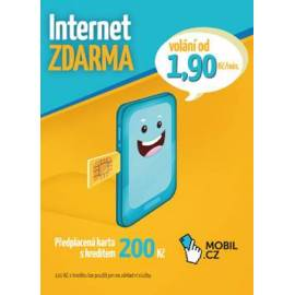 MOBIL.CZ Předplacená karta s kreditem 200Kč (Internet ZDARMA)